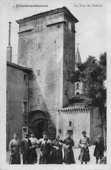 Carte postale ancienne représantant la tour du château de Villemoustaussou